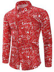 Valentine's Day Letters Print Long Sleeves Shirt -