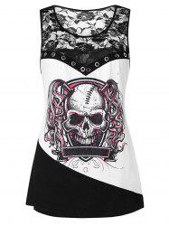 Plus Size Skull Print Lace Panel Tank Top -