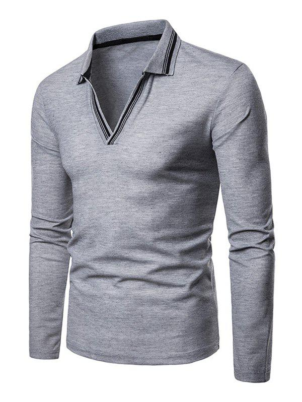 Affordable Striped Spliced V Neck Long Sleeve Tee