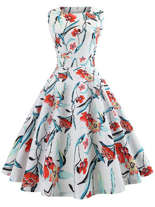 Affordable Sleeveless Flower Belted Flare Dress