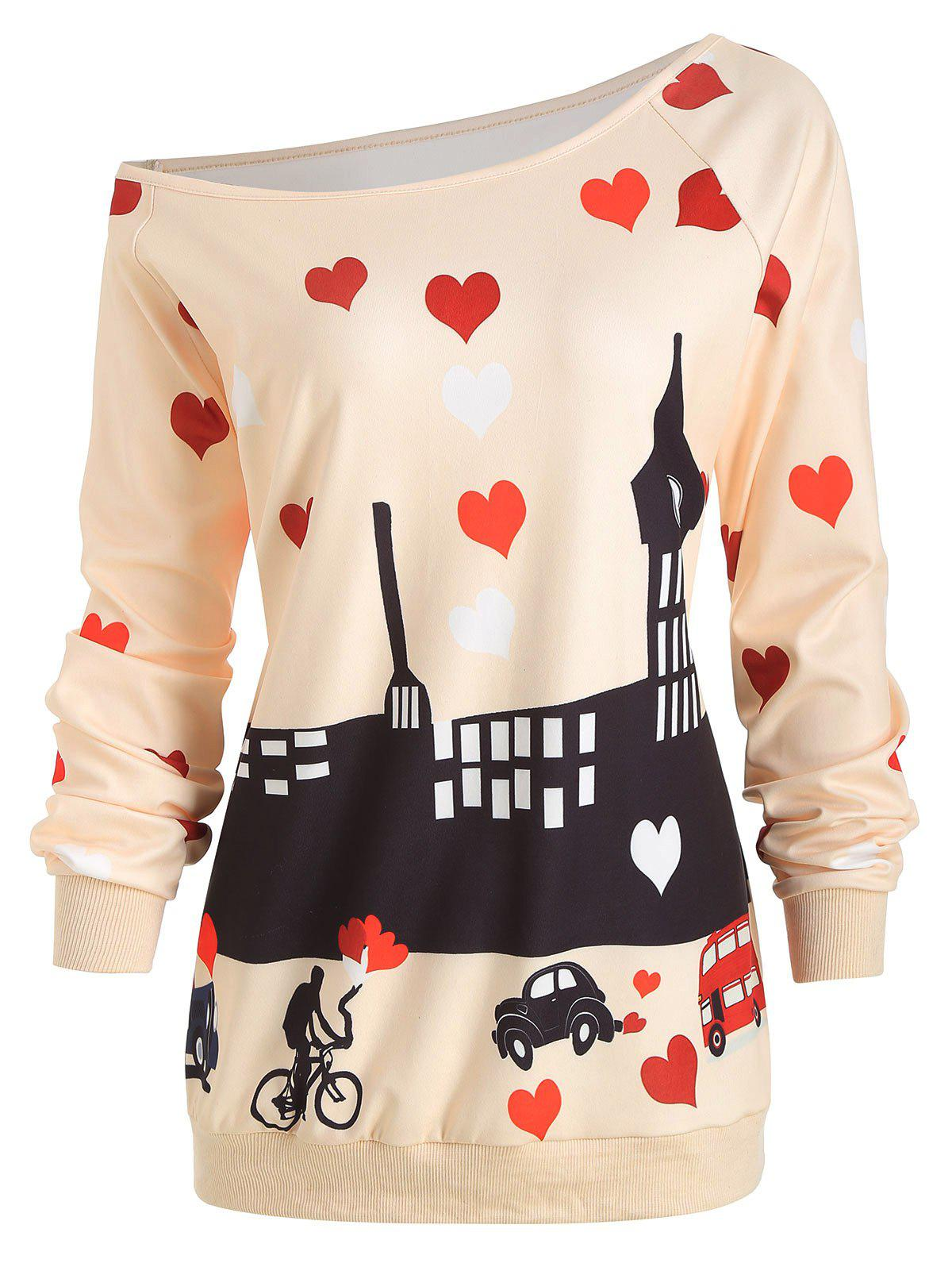 Fashion Heart Print Plus Size Valentine's Day Sweatshirt