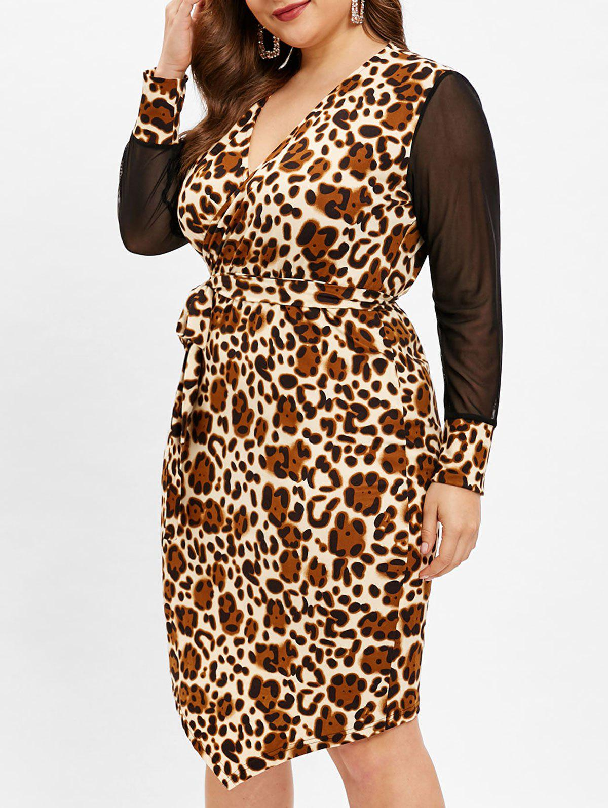 Plus Size Leopard Print Mesh Panel Sleeve Dress