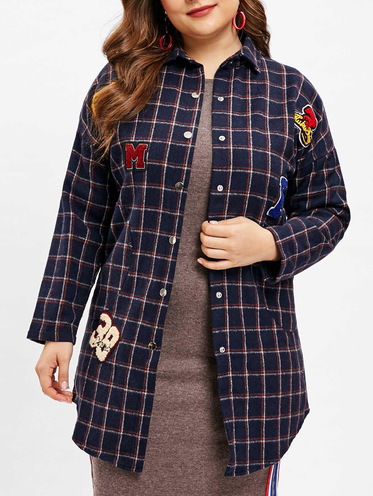Discount Plaid Plus Size Pocket Long Coat