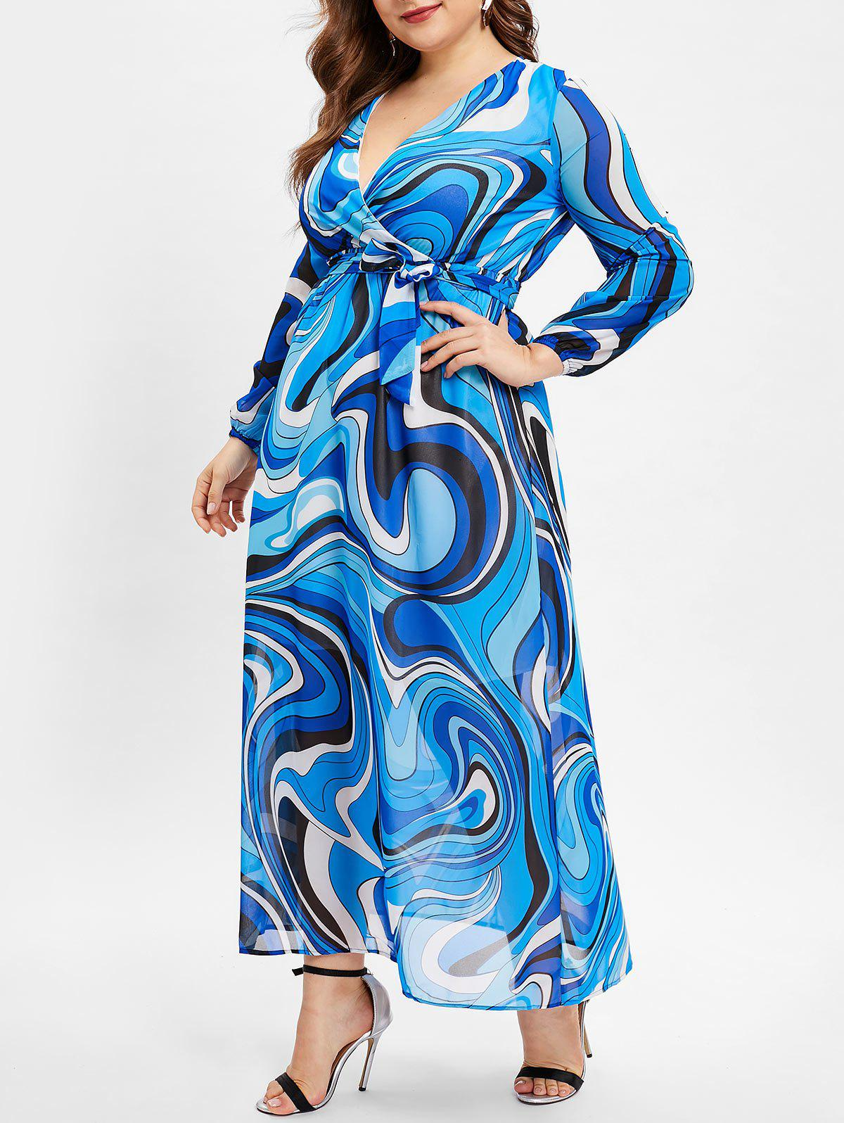 Shops Plus Size Abstract Print Long Sleeve Wrap Dress