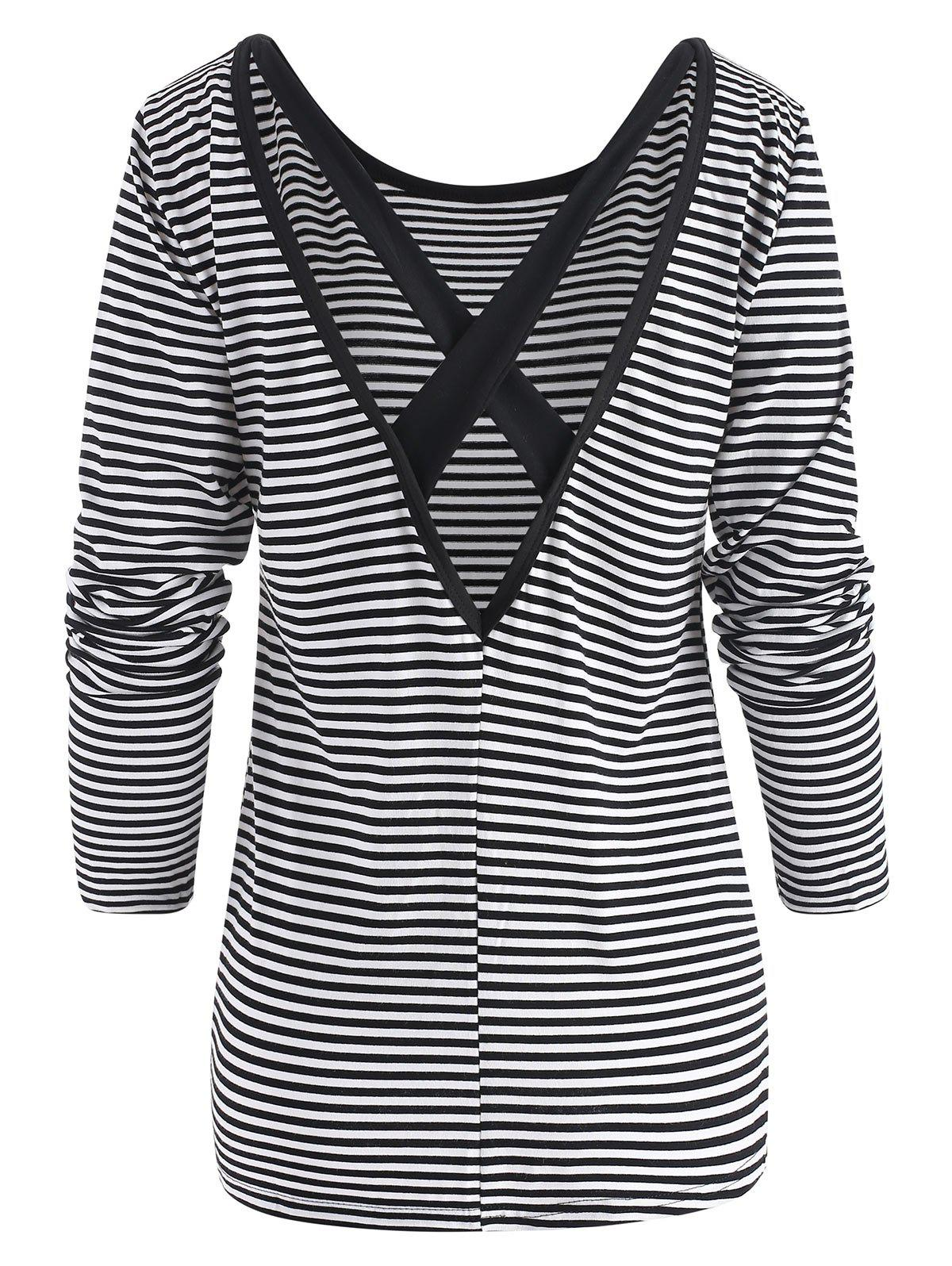 Outfit Striped Criss Cross Long Sleeve Top