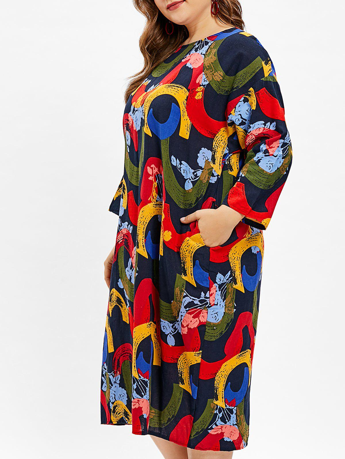 Hot Abstract Pattern Plus Size Round Neck Shift Dress