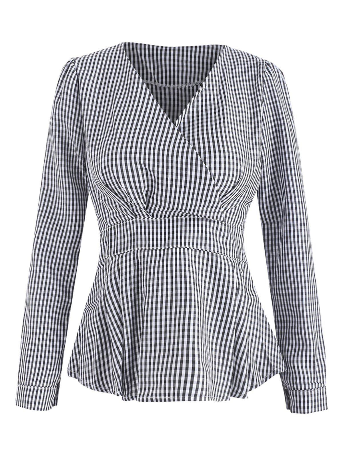 Cheap Wrap Long Sleeve Checked Top