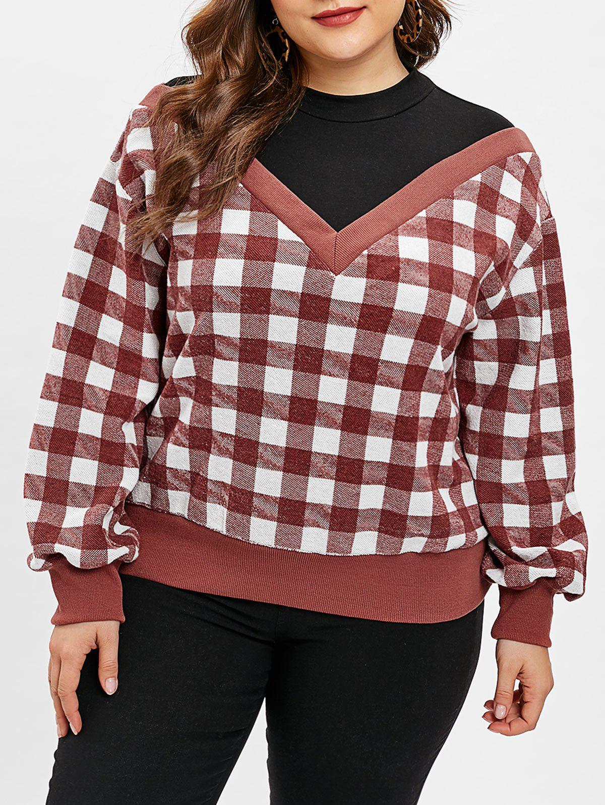 Outfit Gingham Print Plus Size Round Neck Sweatshirt