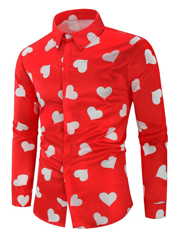 Discount Love Heart Print Valentine's Day Shirt