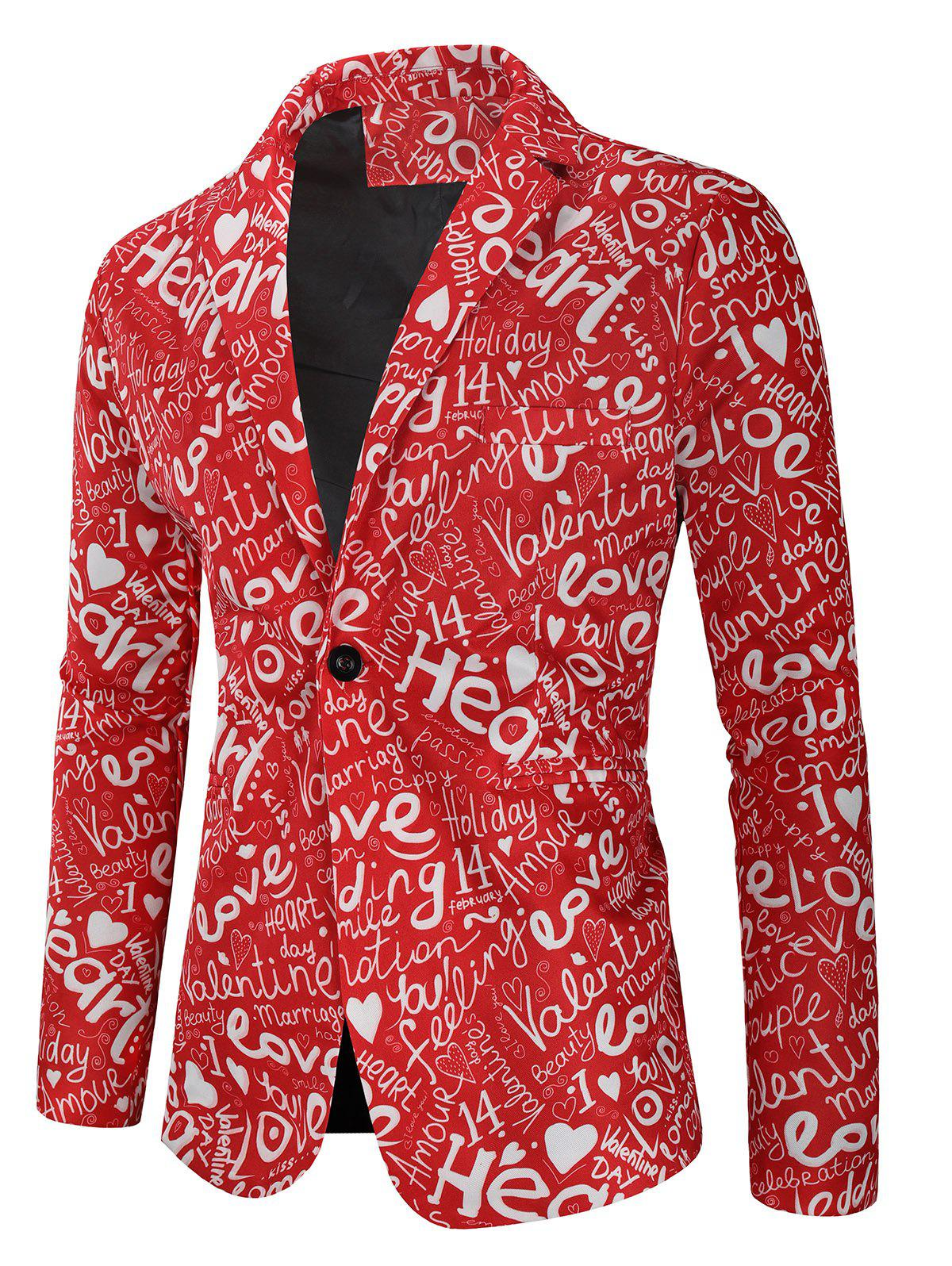 New Valentine's Day Letters Heart Print Casual Blazer