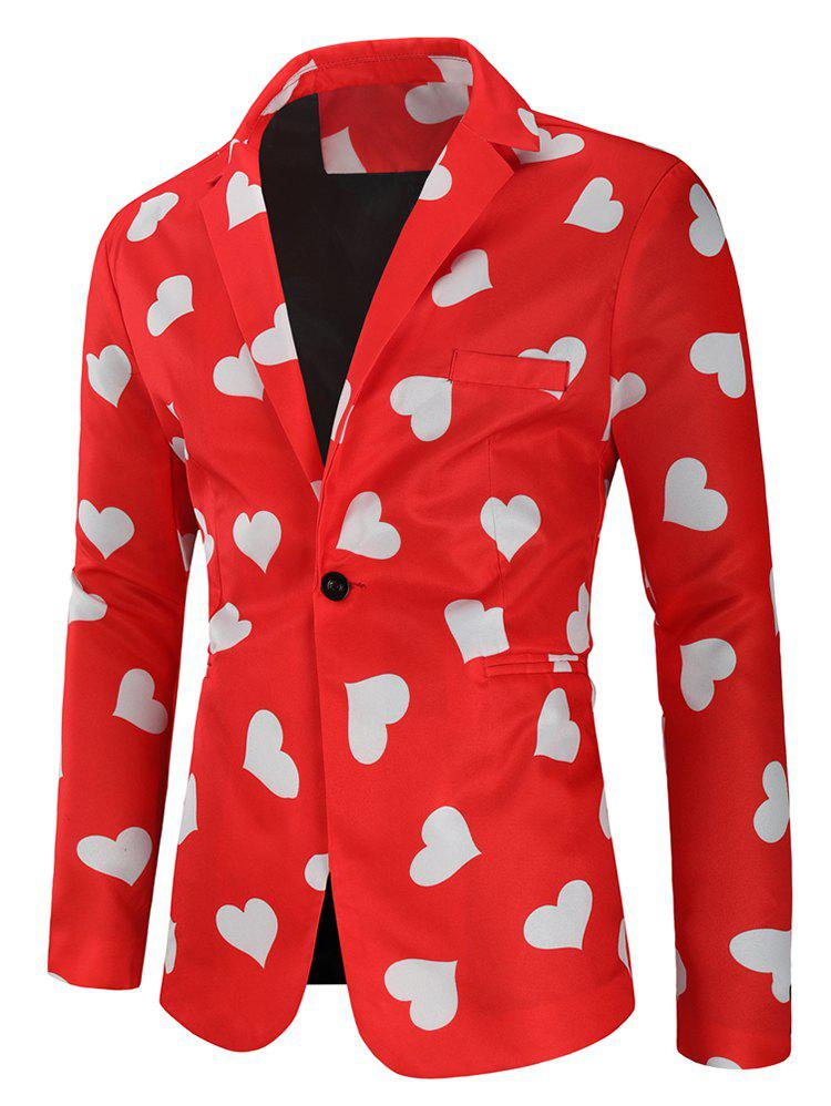 Trendy Love Heart Print Valentine's Day Casual Blazer