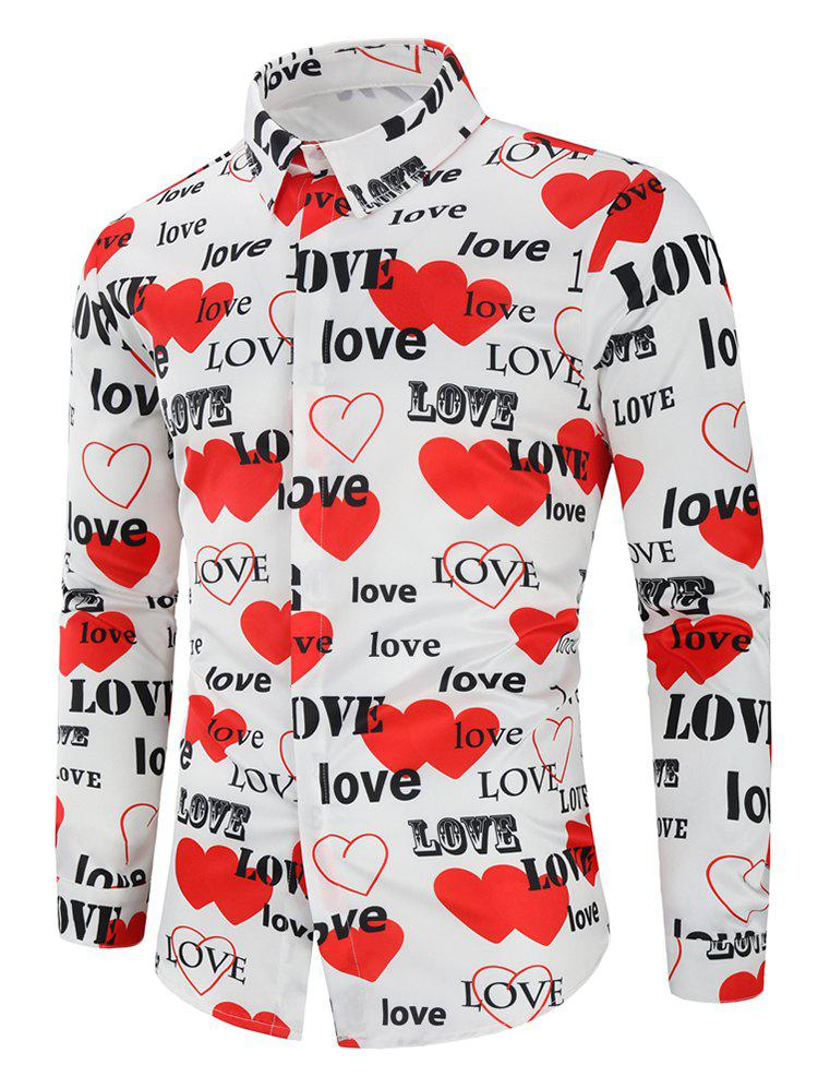 Trendy Love Letters Heart Printed Valentine's Day Shirt