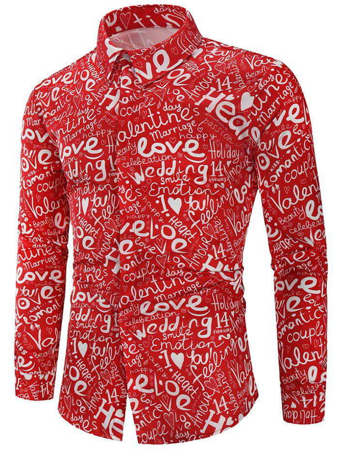 Cheap Valentine's Day Letters Print Long Sleeves Shirt