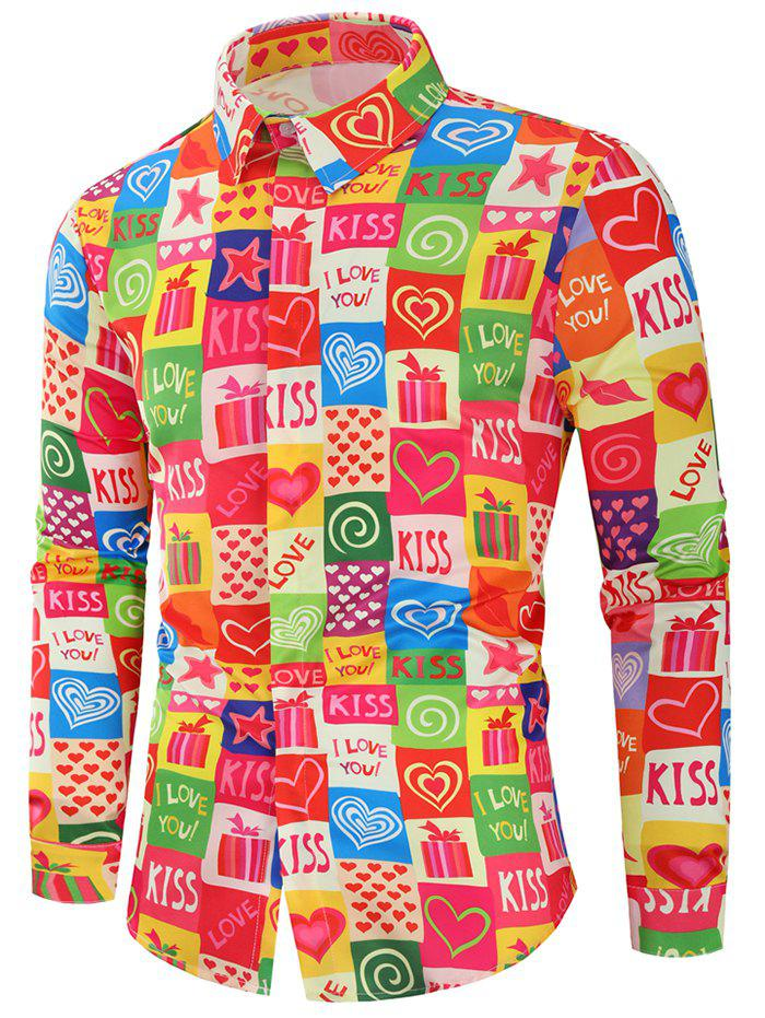Valentine  's Day Heart Gifts Shirt Shirt manches longues Multi L