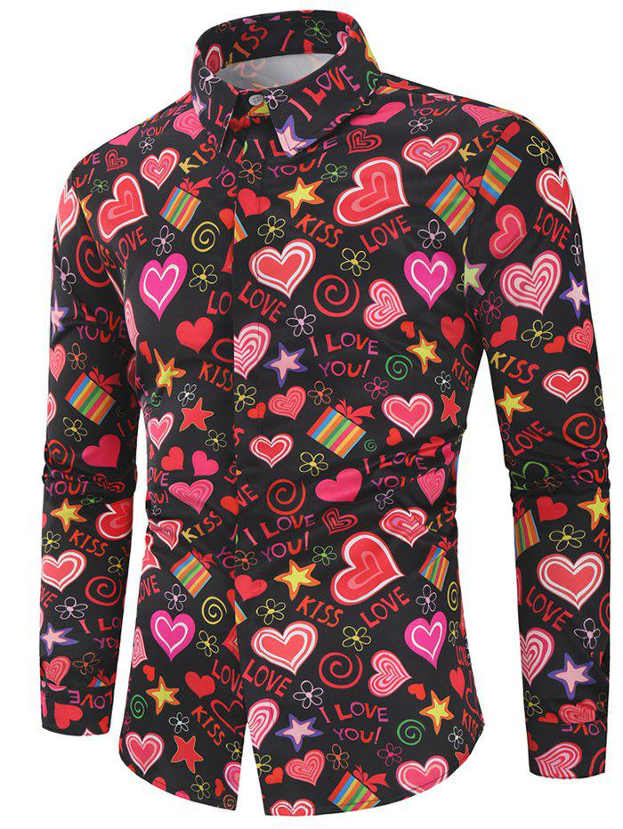 New Valentine's Day Heart Letters Flowers Print Casual Shirt