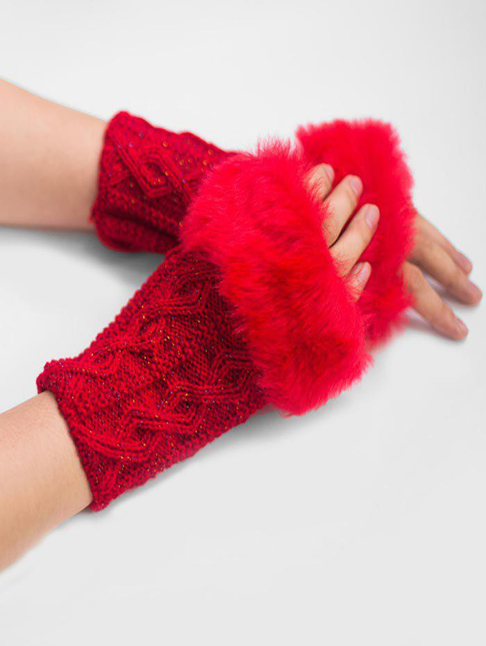 Buy Winter Fuzzy Woven Fingerless Gloves