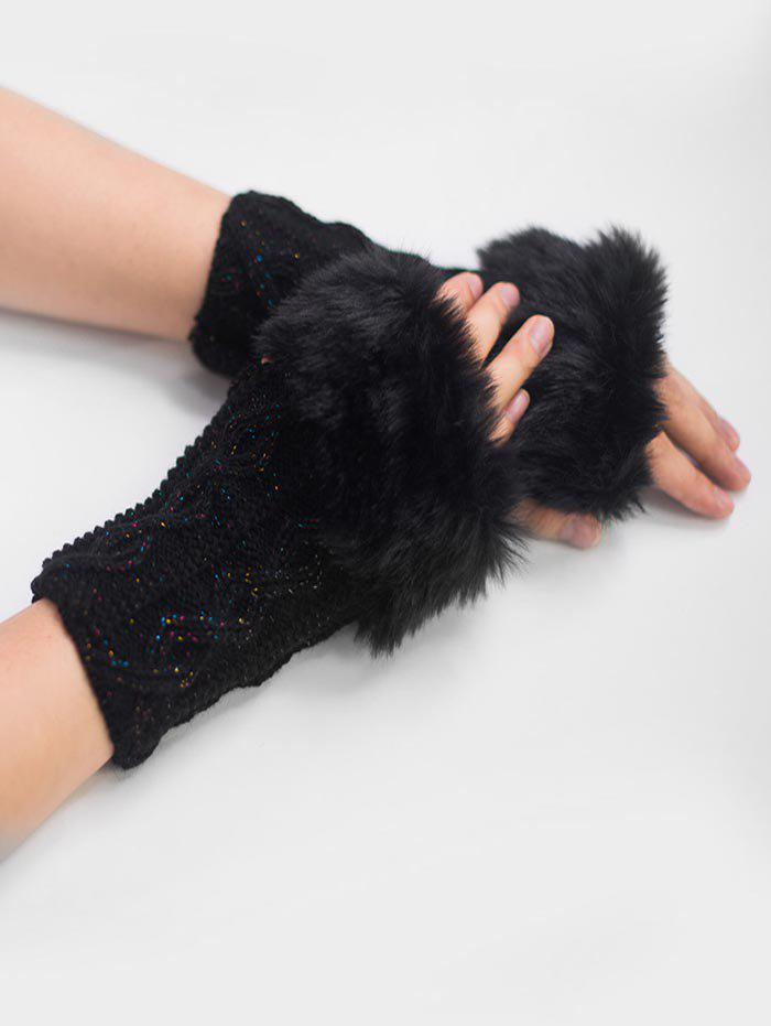 Unique Winter Fuzzy Woven Fingerless Gloves