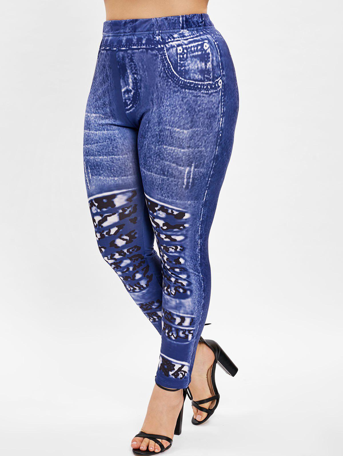 Abstract Print Plus Size Skinny Leggings