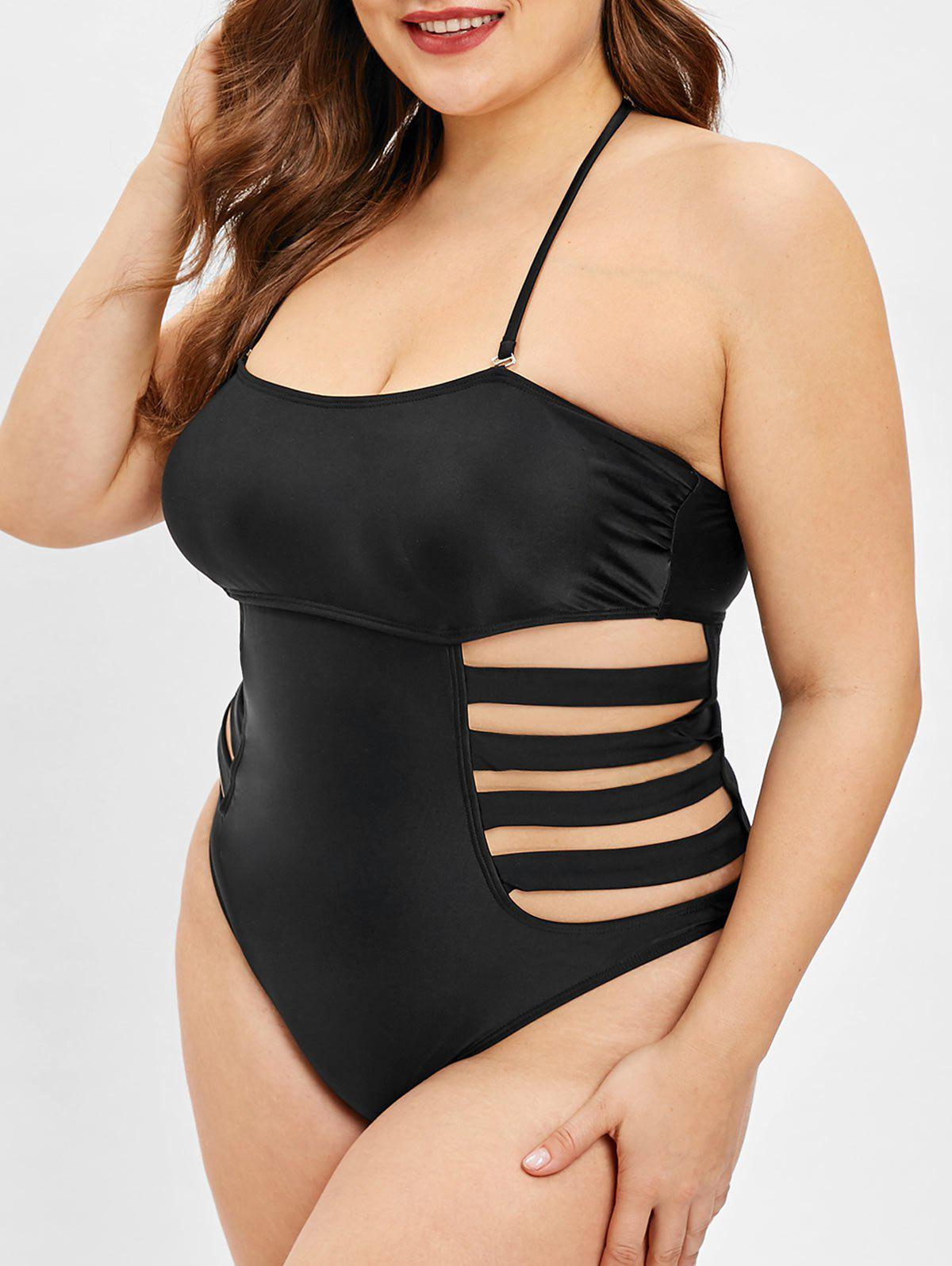 Affordable Ladder Cut Out Plus Size Halter Neck Swimwear