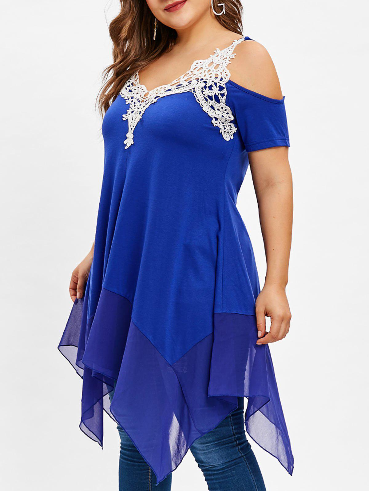Hot Cold Shoulder Plus Size Handkerchief Applique Tee