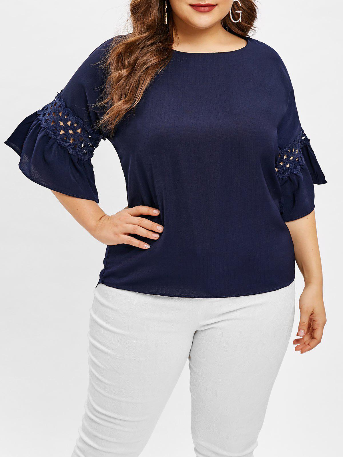 Discount Plus Size Bell Sleeve Asymmetrical Blouse