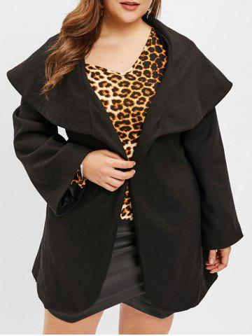 Turn Down Collar Plus Size Belted Coat - BLACK - 2X