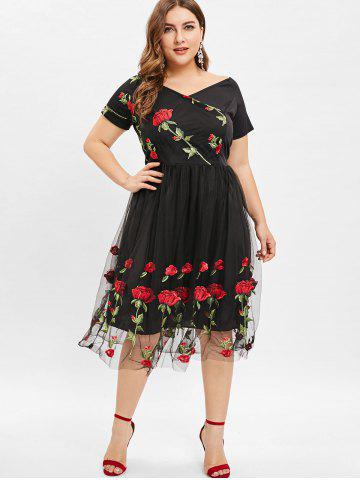 Plunge Plus Size Floral Embroidery A Line Dress