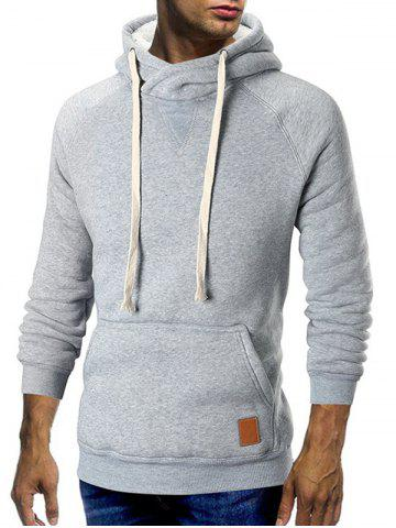 Cowl Neck Kangaroo Pocket Plush Drawstring Hoodie