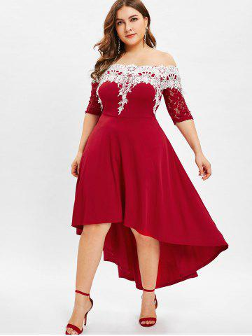 b22d63f6898b8 Lace Panel Plus Size High Low Dress