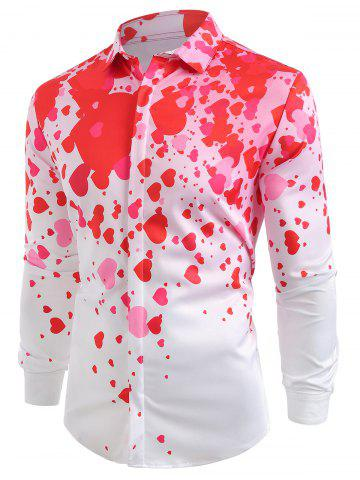 Loving Heart Print Button Hidden Long Sleeve Shirt