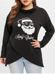 Plus Size Chritsmas Santa Claus Print Irregular Sweatshirt -