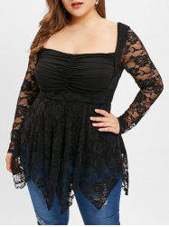 Asymmetrical Plus Size Lace T-shirt -