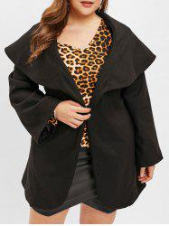 Turn Down Collar Plus Size Belted Coat -