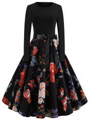 Floral Print Bow Belted Flare Dress -