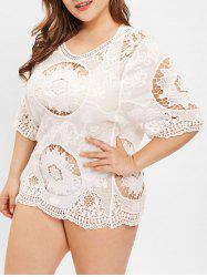 Round Neck Plus Size Lace Cover Up -