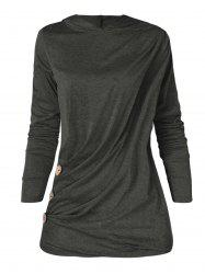 Long Sleeve Plus Size Button Detail Hoodie -
