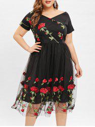 Plunge Plus Size Floral Embroidery A Line Dress -