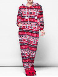 Hooded Patterned Fluffy Onesie Pajamas -