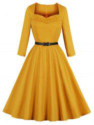 Vintage Sweetheart Neck Buttons Fit and Flare Dress -