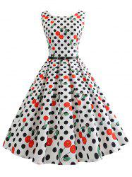 Vintage Dotted Cherry Print Pin Up Dress -