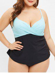 Color Block Plus Size Criss Cross Tankini Set -