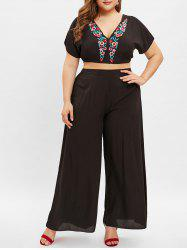 Plus Size Plunge Embroidery Top and Wide Leg Pants -
