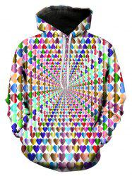 Sweat à Capuche 3D Cœur Coloré Imprimé - Multi-A 3XL