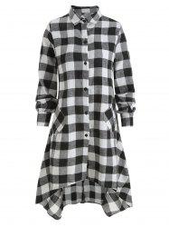 Plaid Longline Button Up Shirt -