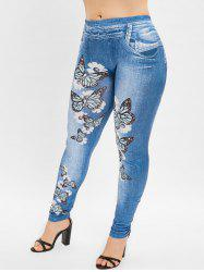 High Waist Butterfly 3D Print Plus Size Pants -