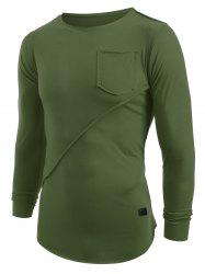 Applique Frontal Pocket Long Sleeves T-shirt -