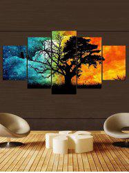 Colorful Galaxy Sky Tree Print Canvas Paintings -