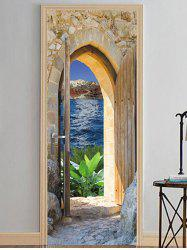 Stone House Scene Print Door Art Stickers -