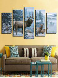 Snowy Forest Elks Print Wall Art Canvas Paintings -