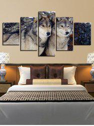 Wolf Print Split Unframed Canvas Paintings -